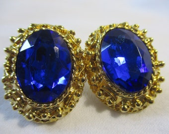 Fabulous Royal Blue and Gold Toned Costume Earrings
