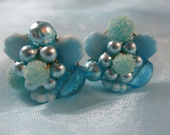West Germany Blue Faux Pearls and Bead Clip on Earrings