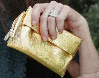 Small Leather Purse Clutch withTassle, Evening Clutch Purse Everyday Carry clutch, Metallic Gold Leather, or Black , etsy purses