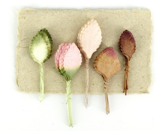 50 Mini Paper Leaves - Assorted leaves with wire stems - Made of Mulberry Paper - Perfect for cardmaking & scrapbooking