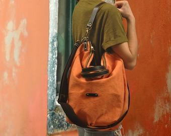 Stonewashed Canvas Bag ,shoulder bag ,Messenger, Handbag with leather details, in orange color, named Leta MADE TO ORDER