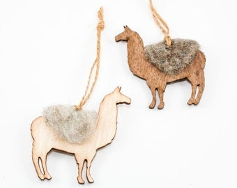 Llama Christmas Ornament - Laser Cut Wood with Needle Felted Wool Accent (Choose Walnut or Maple)