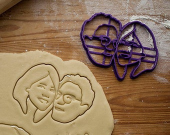 COUPLE personalized cookie cutter / custom fondant cutter / COUPLE PORTRAIT / 3D printed / for personalized cookies / wedding gift
