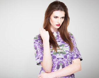Purple Dress Printed Silk Dress - Lily Kaleidoscopic Jersey Silk Dress - Short Sleeved Dress - Printed Dress - Party Dress
