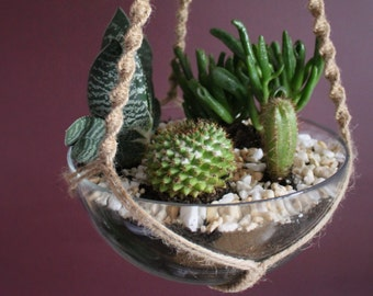 Long hanging planter with wooden tube beads