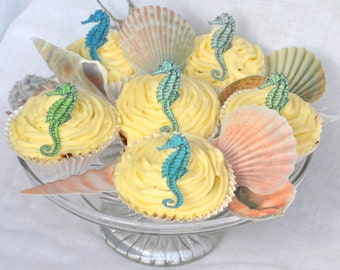 Edible Ocean Beach Collection x 400 Wafer Paper Seashells Seahorses Summer Wedding Cake Decorations Cupcake Toppers Cookie Favours Sea Shell