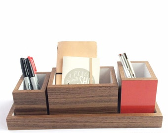 Modern Walnut and Gloss Red Four Piece Desk Set, Tray and Three Open Boxes, Handmade in BC, Canada