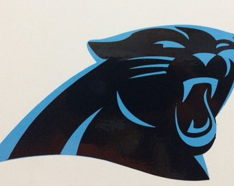 "Carolina Panthers Decal 3.75""x7"" 2 Color Vinyl"