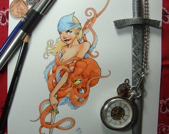 4x6 Print - Octopus Pinup
