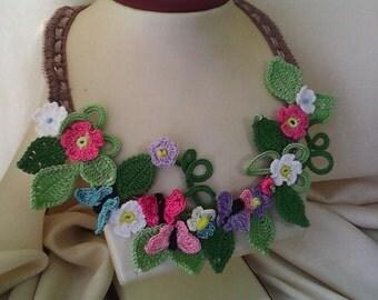 Crochet necklace Spring dew