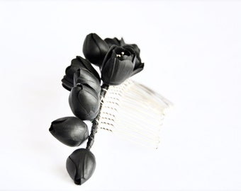 Black hair comb, gothic hair piece, gothic accessories, black flowers comb, black hair  jewelry