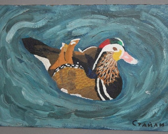 Swimming duck oil painting signed