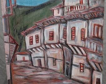 Vintage oil painting cubism landscape