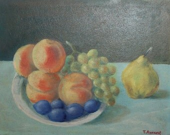 1987 oil painting impressionist still life fruits