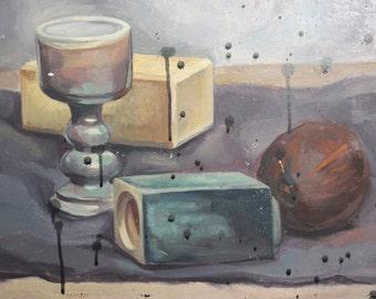 Still life goblet & vase vintage oil painting