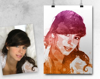 watercolor custom protrait from your photo - Printable File