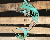 Marlin Art Piece, Fish, Aquatic, Saltwater, Deep Sea, Underwater Decor, Man Cave, Trophy Fish, Metal Wall, Nautical Art, Swordsfish