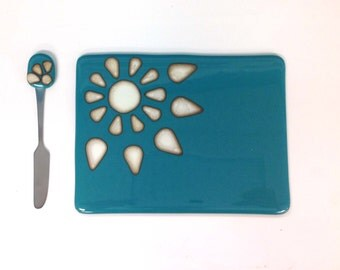 Fused Glass Cheeseboard & Knife