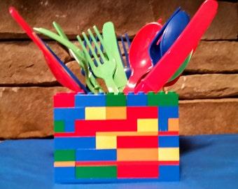 Lego Birthday Party 3D Utensil Holder Table Centerpiece