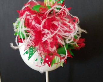 Christmas Over The Top Boutique Bow Headband Ostrich Feather