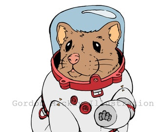 Hamster in a Spacesuit Illustration Print
