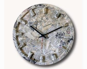 Old newspaper clock, Hand made clock, Wooden clock, design clock, clock, rustic clock, clocks, unique wall clock, wall clock,