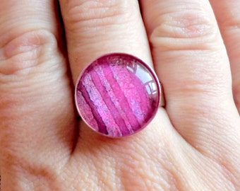 Dark Pink Ring - Handmade - Chunky Ring - Chunky Jewelry - Pink Jewelry - Wedding Jewelry - From Original Artwork