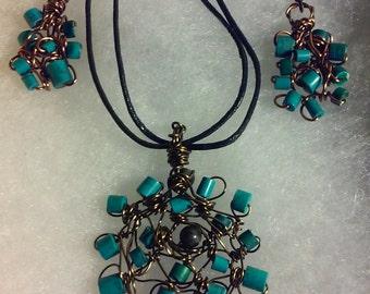 "Wire Jewelry Set, Handmade- Labradorite, Bronze, Copper, Design, Pendant Necklace (L- 19.5"", Adjustable)/Earrings (1.5"")"