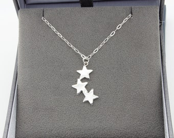 Silver Star Necklace. Sterling Silver,  Individually Crafted Falling Stars Layering Necklace.
