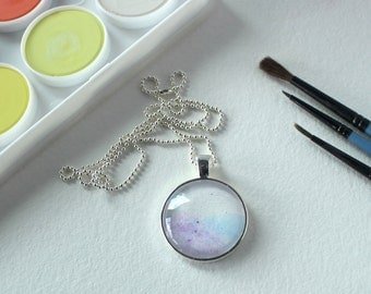 Purple and Blue Watercolor Silver Pendant Necklace #SN26