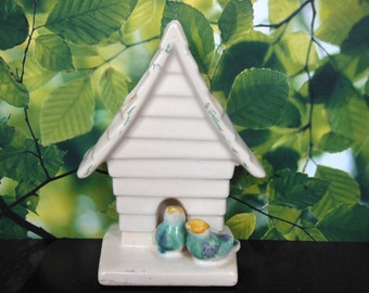Ceramic Birdhouse with two Birds Wall Vase Planter
