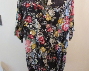 Women's Print Black Flower Shirt, Embellished With Sequins And Seed Beads, Sz. M