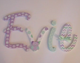 Wood Letters-Nursery Decor- Lavender & mint, Price Per Letter- Custom made Many other designs available