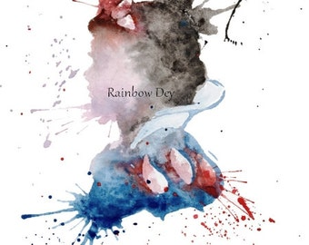 Snow White - Watercolour - work dated and signed - delivery available in France!