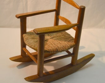 Vintage Miniature Rocking Chair Wood with Woven Seat Dolls Bears