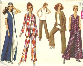 Simplicity vintage sewing pattern 8819 mod duster jacket, pants, overblouse - Size 12