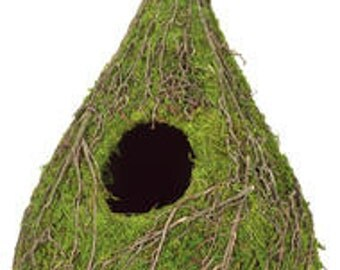 "Moss Raindrop Birdhouse Green Bird House Garden Woodland Wedding Decoration 10"" Hanging Decor"