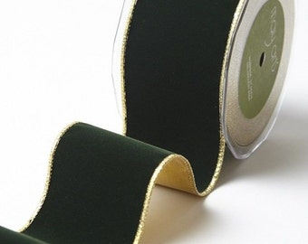 """Christmas Velvet Ribbon with Gold Back CHRISTMAS GREEN 10yd Roll Extra Wide 2.5"""" Florist Supplies Brides Weddings"""