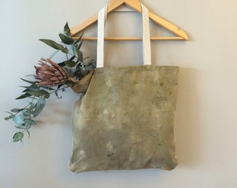 Hemp and Linen Market tote / Yoga bag / Hand dyed with leaf embroidery