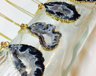 Sliced Agate Necklace | Black Agate Slice Pendant | Raw Agate Druzy Necklace | Black Agate | Brown Agate | Gray Agate Necklace
