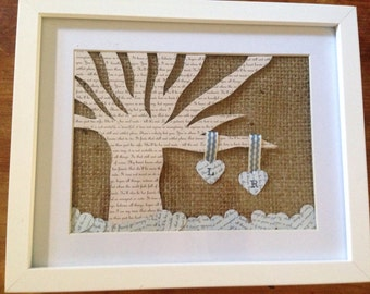 Personalised, framed, paper anniversary gift