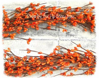 Oranges of Autumn Pip Berry Garland, Orange Berry, Fall Garland, Autumn Wreath