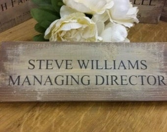 Personalised Handmade Business Office Door Sign Plaque Shabby Chic Rustic Wood