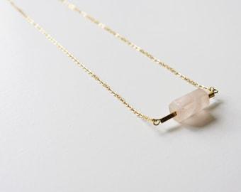 Hexagon rose quartz necklace, brass necklace, minimalist necklace, geometric necklace, rose quartz jewelry