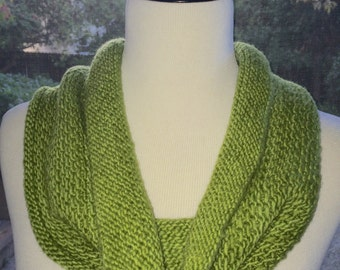 Apple Green Soft Merino Worsted Wool Cowl Scarf