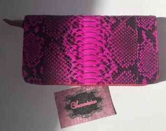 """Luxury Genuine Python Leather Wallet """"Fucsia"""""""
