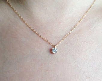 CZ Necklace, Solitaire Necklace, Tiny Diamond Pendant, 14k Gold Fill Chain, Perfect Layering Necklace, Floating Diamond Necklace, Dainty