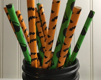 Sale*Discount *Halloween Paper straws , Bats , Witches brew, Halloween Party