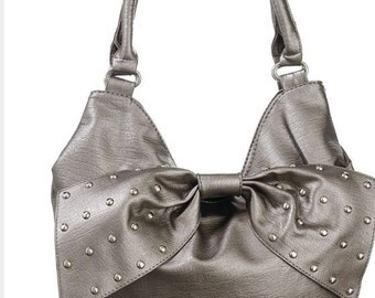 Beautiful Slouchy Pewter HOBO Bag, Silver Gray Purse, oversized Bow with Embellishments, Handbag Christmas Gift
