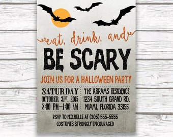 Eat Drink and Be Scary Halloween Invitation, Halloween Party Invitation, Black and Orange Invite, Bats, Printed Printable Invitation